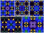 colorful blue, green and yellow kaleidoscope abstract design by celeste@khoncepts.com
