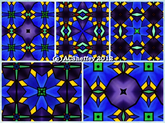 Blue and Purple Stained glass design by Celeste Sheffey