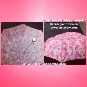 Graphic art umbrella, sure to brighten up a dreary, rainy day with you favorite colors.