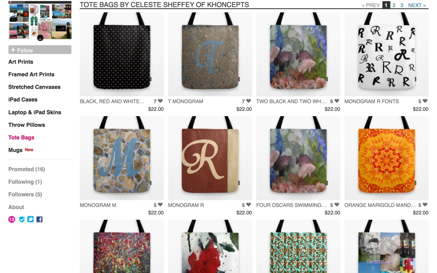 Colorfully eclectic graphic art tote bags