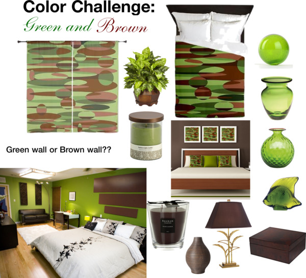 Polyvore's color challenge Green and Brown