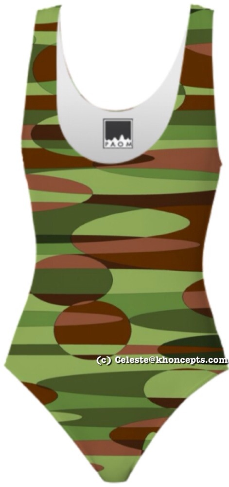 Military inspired army colors one piece women's bathingsuit