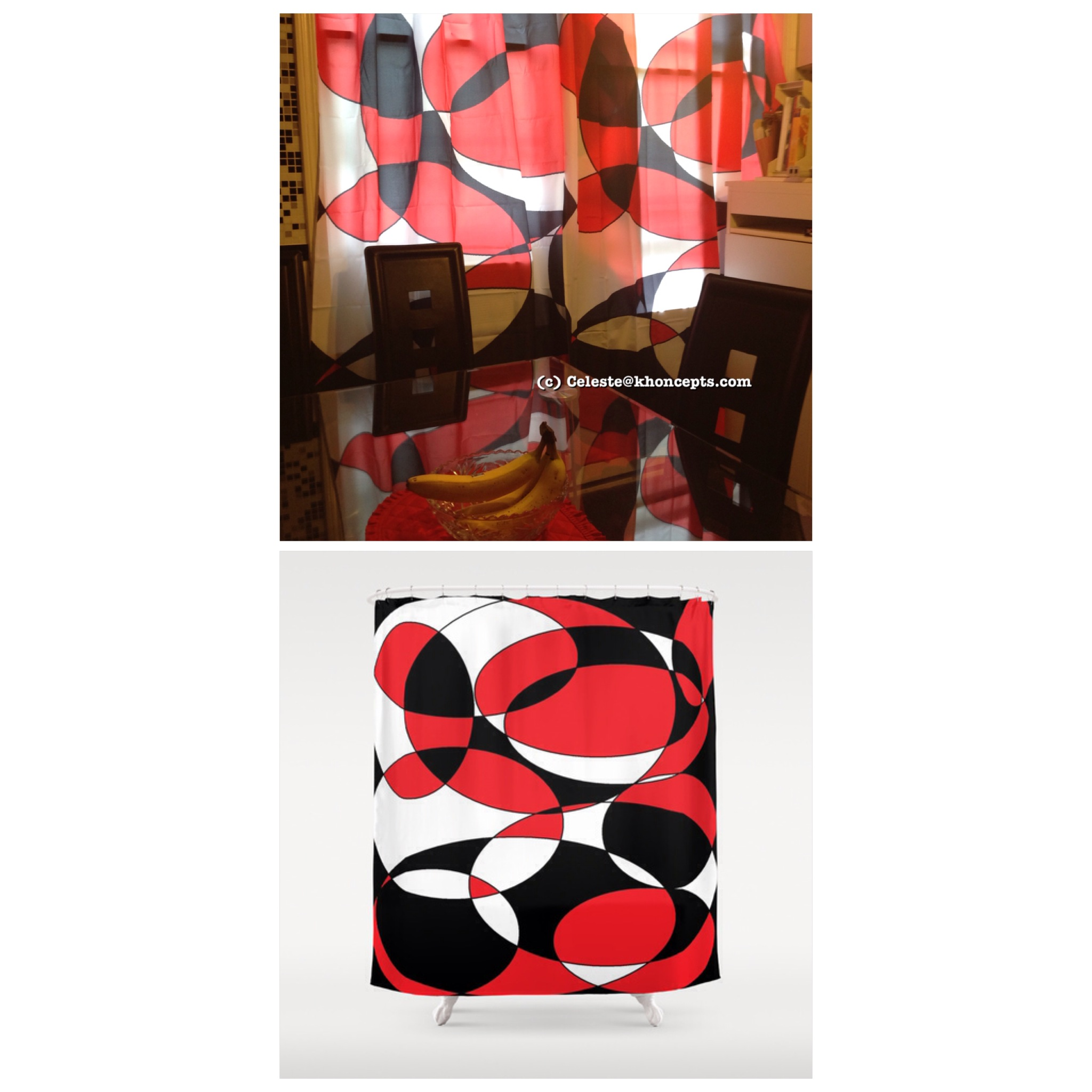 Shower Curtains Or Window Curtains Gorgeous Black, White And Red ...