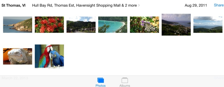 Location information listed on iPad photos