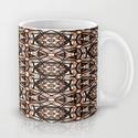 Brown, white and black spiral mandala #2778 coffee mug