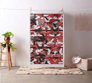 Black, white and red tapestry fabric