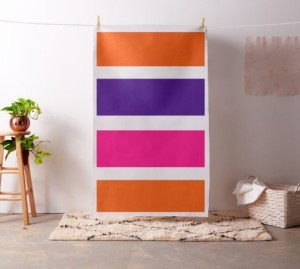 Neon Orange, dark purple, hot pink and white stripe fabric by celeste@khoncepts.com