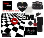 Mom on black background with red heart.  Boldly beautiful design for Moms (like me!) who love elegantly simple black, white and red art.