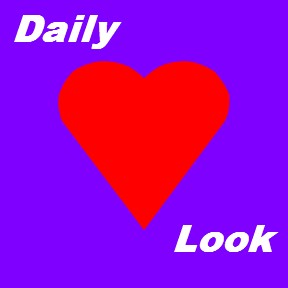 Daily Look Purple with Red Heart and white text by celeste@khoncepts.com