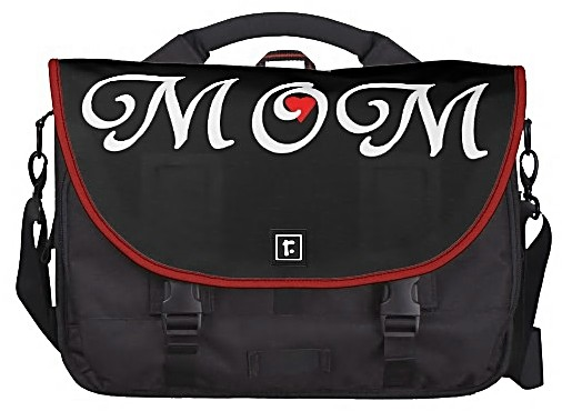 """Elegantly bold """"Mom with a heart"""" computer bag."""