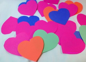 Hearts with affirmations