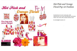 Hot pink and orange floral print designs.