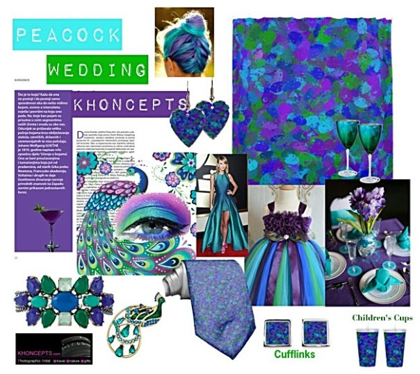 Stunning peacock themed wedding colors of emerald greens, royal purples and shades of blue with matching material backdrops for the wedding cake or photo booth, necktie, cufflinks, jewelry and even children's keepsake sippy cups.