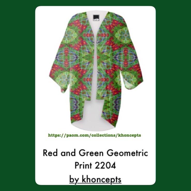 Red and Green Printed Kimono