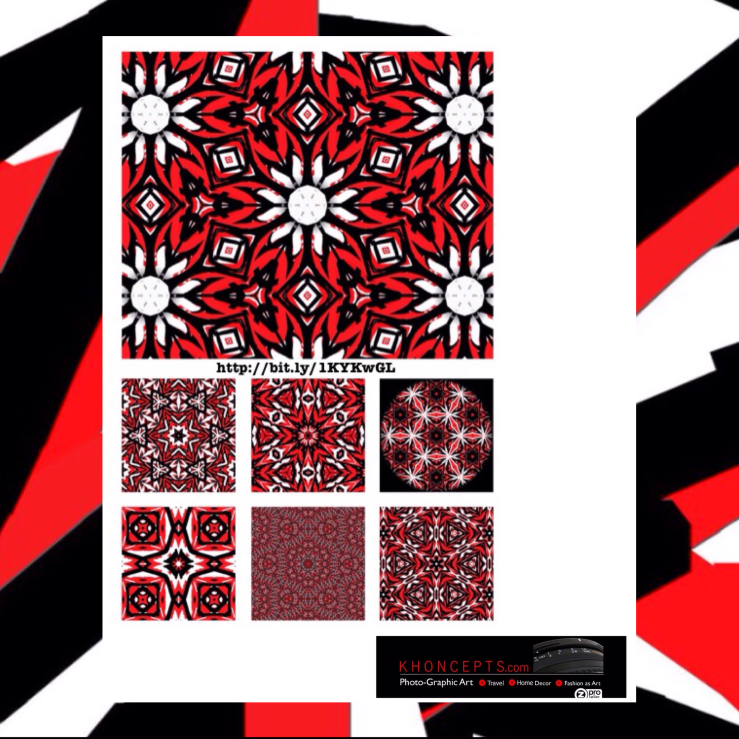 Red, black and white graphic art