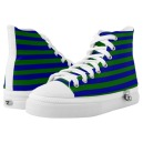 Peacock blue and green striped high top sneakers