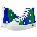 Peacock blue, green and white polka dots sneakers