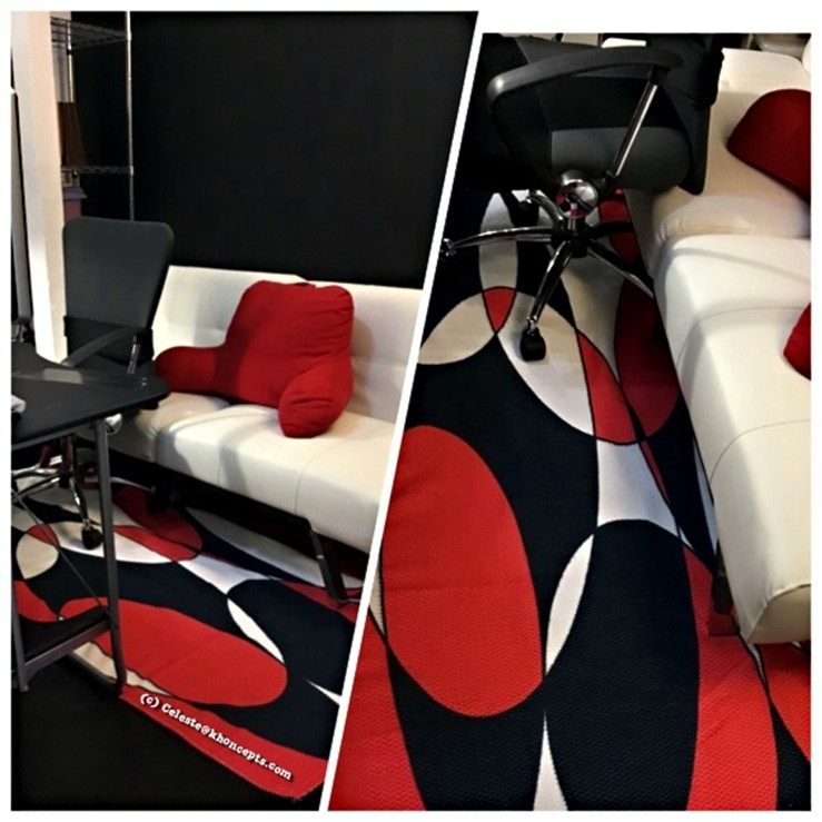 6x4 black white and red ellipticals area rug by celeste@khoncepts.com