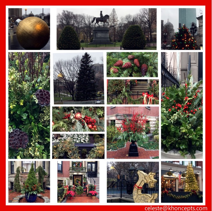 Photo collage of pretty Christmas decorations on a misty morning