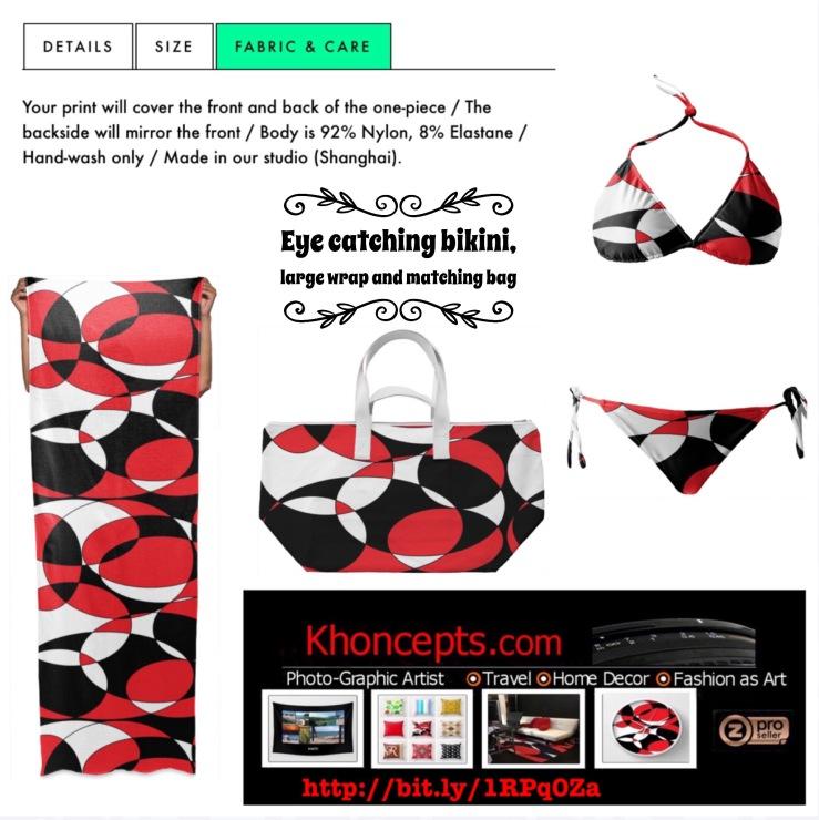 Black, white and red ellipticals bikini beachwear
