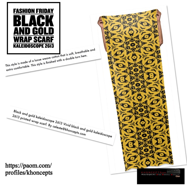 black and gold print scarf