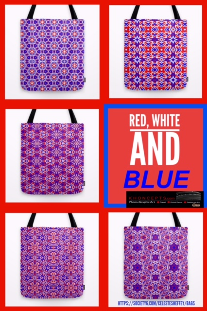 Eye catching red, white and blue tote bags