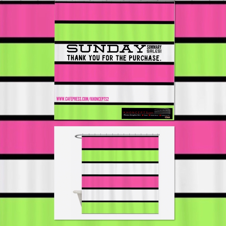 Captivating , hot pink, lime green and black stripes shower curtain