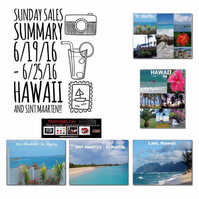 Popular postcards featuring Hawaii and Sint Maarten