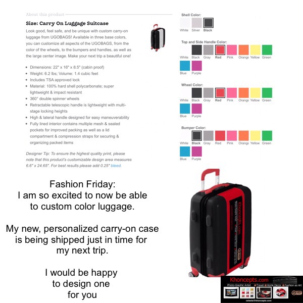 Colorfully personalized custom luggage bag