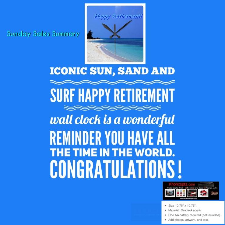 Sunday Sales Summary - sold beach photo wall clock
