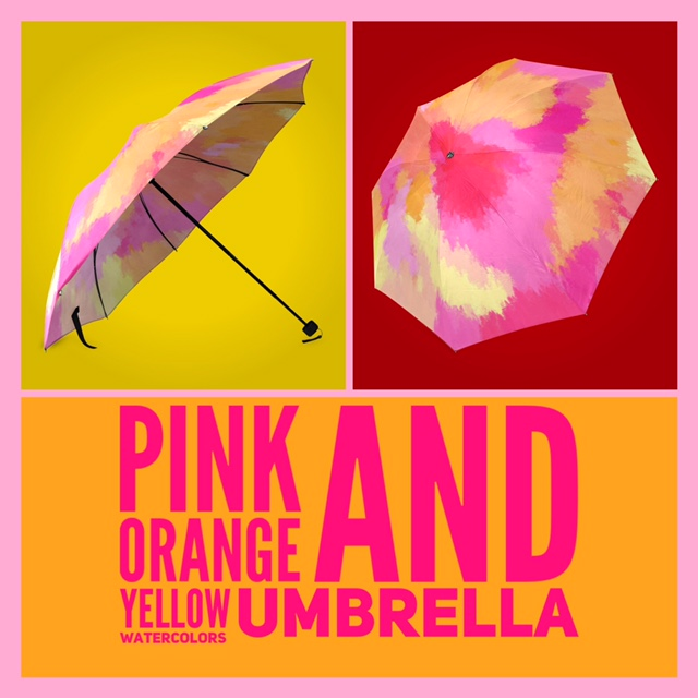 Smile as you walk in the rain twirling shades of pinks, oranges and yellows