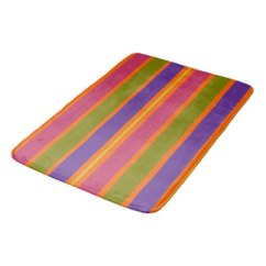 African Inspired Orange, Yellow, Red, Green and Yellow stripes bath mat