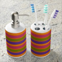 African Inspired Orange, Yellow, Red, Green and Yellow stripes bath set