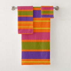 African Inspired Orange, Yellow, Red, Green and Yellow stripes bath towel set