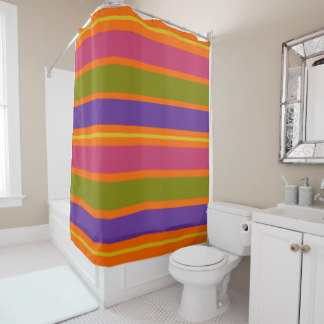 African Inspired Orange, Yellow, Red, Green and Yellow stripes shower curtain