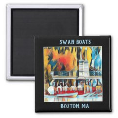 Boston Swan Boats Art Deco magnet