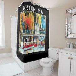 Boston Swan Boats Art Deco shower curtain