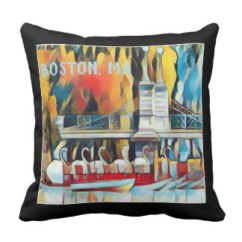 Boston Swan Boats Art Deco throw pillow