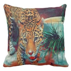 Jaguar In Motion 6234 Art throw pillow