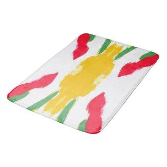 Red and Yellow Starburst 7689 bath mat