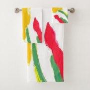 Red and Yellow Starburst 7689 bath towel set