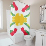 Red and Yellow Starburst 7689 shower curtain option 1