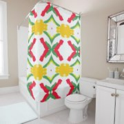 Red and Yellow Starburst 7689 shower curtain option 2