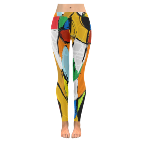 Yellow Abstract Art 8195 Leggings