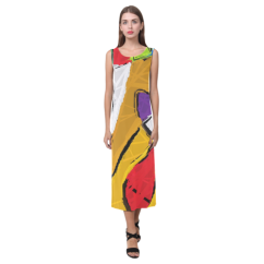 Yellow Abstract Art 8195 Long Slit Dress