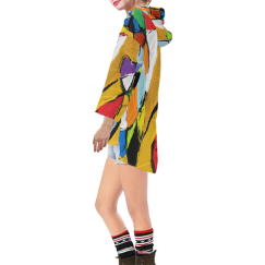 Yellow Abstract Art 8195 Step Hem Tunic Hoodie for Women