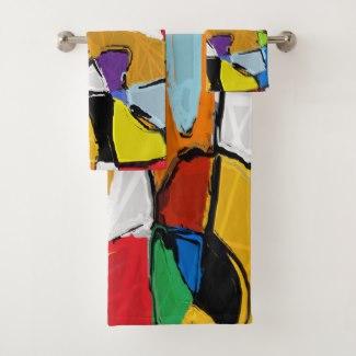 Yellow Abstract Art bath towel set