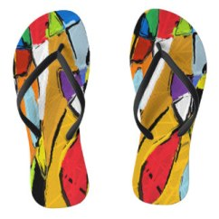 Yellow Abstract Art 8195 Flip Flops