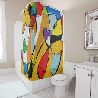 Yellow Abstract Art 8195 shower curtain