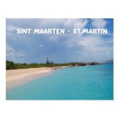 Sint Maarten Beach Scene postcard